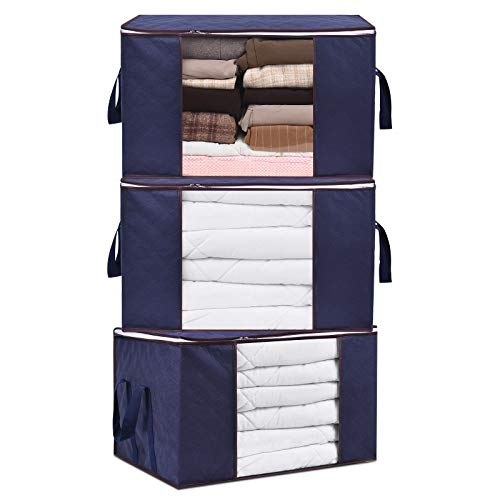 Blanket Storage Bag Large Capacity Clothes Organizer Durable Handle Clear Window Closet Storages for Comforter Pillow Bedding 90L 3Pack