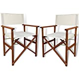 LuxuryGarden Set 2 Sedie da Regista Pieghevoli in Legno da Giardino in Tessuto Ecrù, Design Iconico e Moderno - 49x53x84h