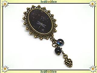 Spilla retro resina libellula nero grigio ottone bronzo 18 x 25mm perline regalo in vetro personalizzato natale amico comp...