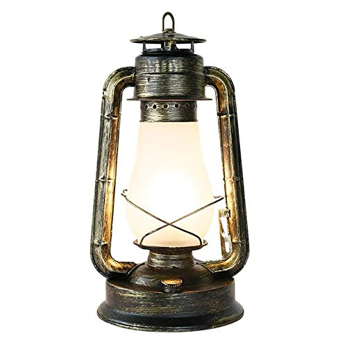 WNN-URG Ferro battuto Vintage Lampada a Cherosene Tavolo Luminoso Desk Lamp Americano Rurale Antique Desktop Light - Fashioned Retro Lampada da Lettura for Cafe Bar Warehouse Restaurant URG