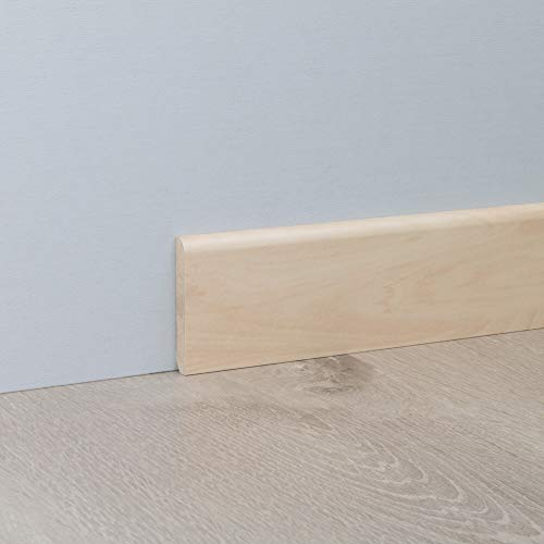 Sockelleiste Fußbodenleiste Standard aus MDF in Silber Ahorn 2600 x 10 x 60 mm