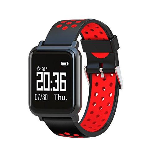 Kariwell SN60 Pulsera Inteligente – Paso/kilometraje/calorías/cronómetro/Modo Deportivo/Bluetooth Llamada/Monitor de sueño/Foto/Ritmo cardíaco Kari-126, 39 * 39 * 10.3mm, Rojo