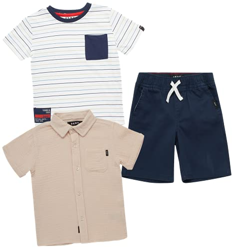 DKNY Baby Boys' Shorts Set -3 Piece Short Sleeve T-Shirt and Button Down Collared Shirt and Khaki Shorts Set (Infant/Toddler), Size 2T, Black Iris