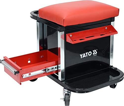 Yato Profi Werkstatthocker mit 2 Schubladen, Staufach und Ablage, 360° drehbar, 4 Rollen, stabile und leichte Ausführung mit 150 kg Traglast, Werkstattstuhl Montagehocker Werkstattsitz