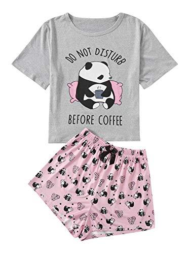 DIDK Conjunto de pijama corto para mujer, diseño de dibujos animados, camiseta y pantalón corto, dos piezas, ropa de verano Gris Con Patrón De Panda XS