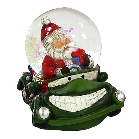 Dekohelden24 Kinder-Schneekugel, lustige Cars in grün, mit Weihnachtsmann, Maße H/B/Ø Kugel: ca. 7,5 x 5,5 cm/Ø 4,5 cm.