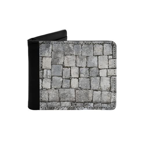 Portefeuille Mince en Cuir pour Hommes,Mur de Briques Blanches patinées dans Une Surface texturée,Portefeuille Minimaliste à Deux Volets avec Poche Avant