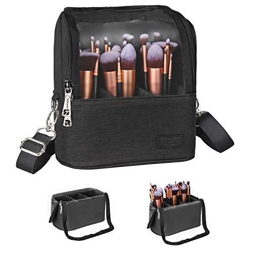 Makeup Brush Case Stand-up Makeup Cup Makeup Brush Holder Travel Professional Cosmetic Bag Artist Storage Bag with Shoulder Strap and Adjustable Divider (Black)