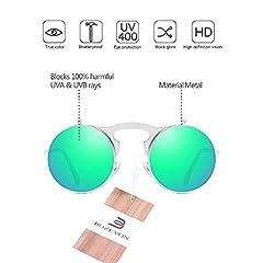 BOZEVON Flip up Round Sunglasses - Metal Steampunk Retro Circle Eyewear for Men & Women Silver Green #1