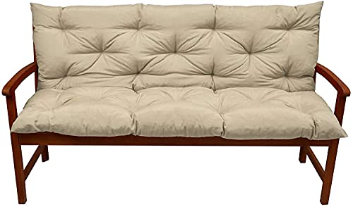 Muyuuu Luxury Bench Cushion Garden Swing 2 3 Seater Replacement Pad Waterproof Outdoor Patio Lounger Recliners Large Mat with Backrest,Non-Slip (Color : Beige, Size : 120x50x10cm)
