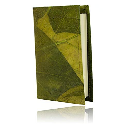 WOLA Notizbuch A5 Geschäftsbuch Hülle SELVA Bullet-Journal Schutzhülle aus Blattleder grün