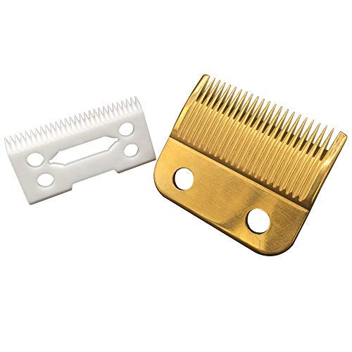professional ceramic clipper blades 2 hole blade ceramic clipper replacement blades with Gold steel blade for Wahl Senior cordless Clipper(White + Gold Blade)