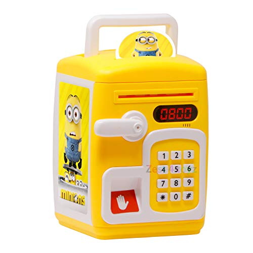 Zest 4 Toyz Cartoon Printed Smart Electronic Password Protected Money Bank for Kids with Talking Function, Electronic Piggy Banks ,Mini ATM Electronic Coin Bank for Children - Yellow