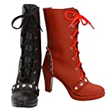 Allten Womens Clown Harley Red Black Half Lace up Boots Shoes Cosplay Costume (8 M US Female)
