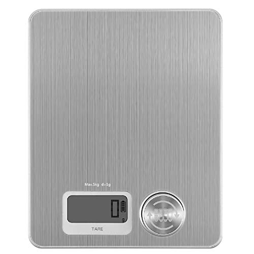 Food Weight Scale No Need Batteries Digital Kitchen Scale for Cooking Baking, Stainless Steel Scale with Tare Function Anti-Corrosion 11Lb (10g-5kg, Digital Food Scale Weight Grams and Ounces by CHAR