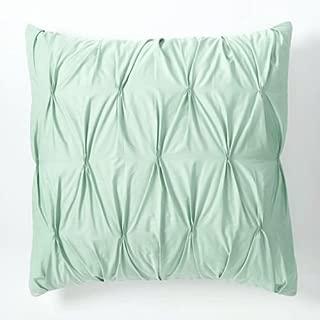 SplendidHome Zipper Pintuck 2 Piece Pillow Decorative Throw Cushion Cover Sham Case 100% Cotton Sateen Euro 26 inch x 26 inch, Mint Green