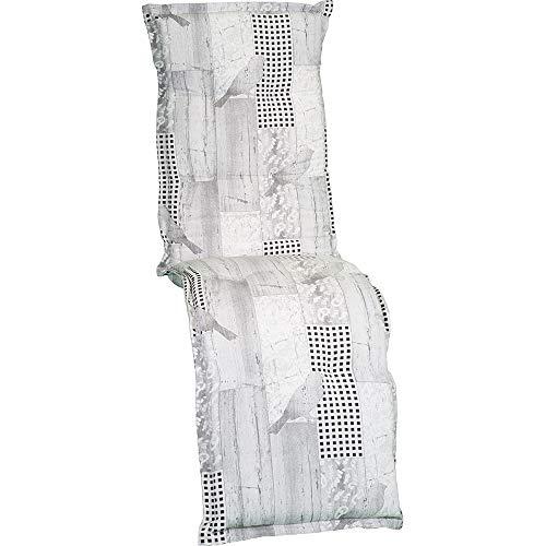 nxtbuy Auflage für Relaxliegen Nizza 170x52x8cm - Liegenauflage mit Komfortschaumkern und Bezug - Sitzpolster für Gartenliegen, Dessin:Greybird