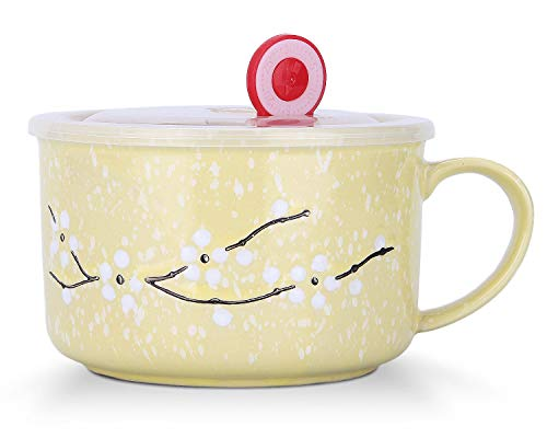 VanEnjoy 30oz Ceramic Bowl Set with Lid & Handle,Cherry Blossoms Among Snow Flake Pattern,Microwave for Instant Noodle Sara, Cereal Bowl (Yellow)