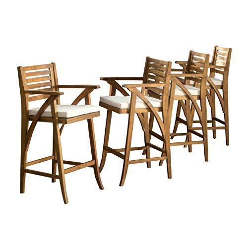 Christopher Knight Home Hermosa Acacia Wood Outdoor Barstools, 4-Pcs Set, Teak Finish