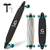 Gonex 42 inch Longboard Skateboard, Complete 9 Ply Maple Freeride Concave Cruiser for Girls, Kids, Adult and Beginner (Blue Stripes)