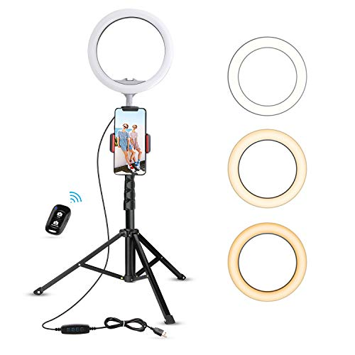 "10.2"" Selfie Ring Light with Tripod Stand & Cell Phone Holder for Live Stream/Makeup, UBeesize Mini Led Camera Ringlight for YouTube Video/Photography Compatible with iPhone Android (Pink)"