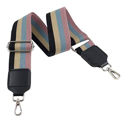 BENAVA Taschengurt Schulterriemen für Taschen Bunt Gestreift in Schwarz Blau Rosa Beige – Verstellbar mit Karabinerhaken in Silber Breit