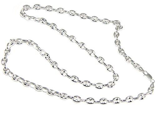 nalbori argento 925 : Collana girocollo o lunga bracciale maglia marina chiara 6x8, per uomo o donna (collana 60 cm)