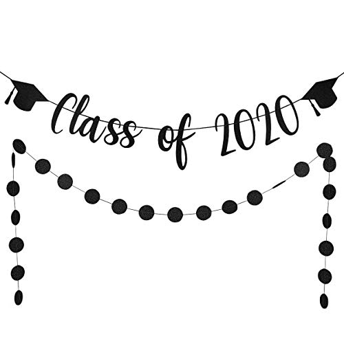 Black Glittery Class of 2020 Banner and Black Glittery Circle Dots Garland,Graduation Party Decorations/Grad Party Decor