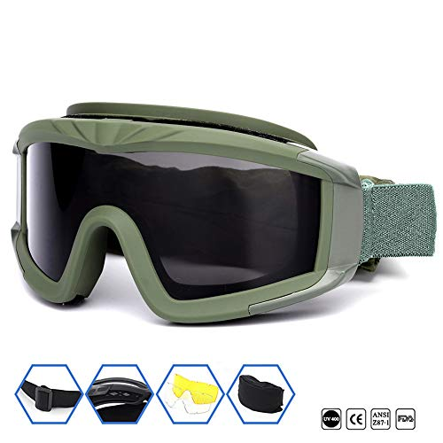 Outdoor Sports Military Tactical Airsoft Goggles with 3 Interchangable Lens Impact resistance...