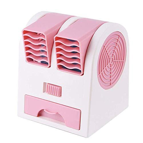 L&B-MR Aire Acondicionado Portátil, con Tanque de Agua y ventilaciones Dobles, Enfriador de Aire/humidificador/purificador 3 en 1, Silencio, para Oficina, Hogar,Rosado