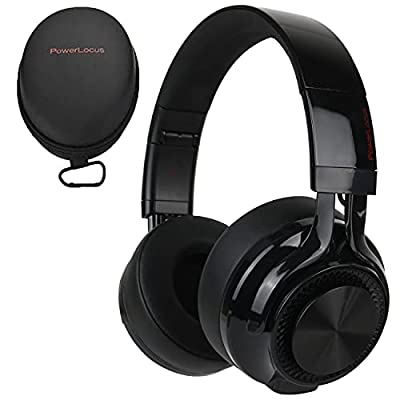 PowerLocus P3 Bluetooth Headphones Over-Ear, [40h Playtime, Bluetooth V5.0] Wireless Headset Hi-Fi Stereo Headphone, Foldable with Mic, Deep Bass, Wired Mode for Cell Phones/Laptop/PC/TV (Black) from Powerlocus
