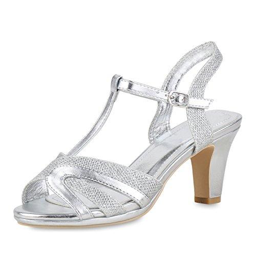 SCARPE VITA Damen Schuhe Riemchensandaletten Metallic Sandaletten High Heels Glitzer 154730 Silber 39