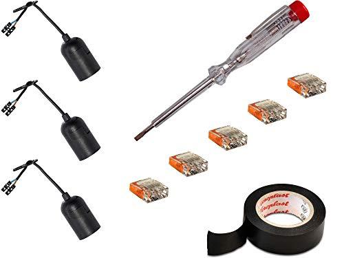 H+H Werkzeug RV1 Renovierung-Set 3X 1 x VDE-Spannungsprüfer/Phasenprüfer/Isolierband/Steckklemmen (Baufassung Lampenfassung Renovierfassung Baustellenfassung), 20