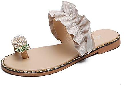 Zapatillas Bohemias Con Puntera Piña Para Mujer Sandalias De Playa Mujeres Niñas Perlas Sandalias Planas Mujer Verano Chanclas Dedo Del Pie Sandalias De Fiesta Zapatos De Verano Wyxhkj