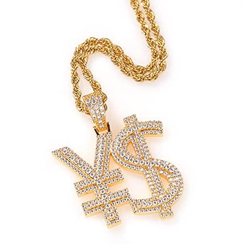 Hip-Hop Simple Rmb Signo De Dólar ¥$Símbolo De Moneda Colgante Collar Cobre Con Incrustaciones De Circón Salvaje Creativo Marca De Moda Colgante De Oro Para Hombre