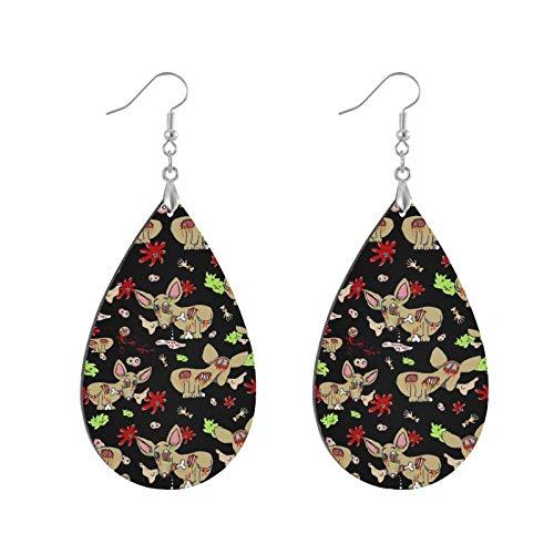 Modische Ohrringe aus Holz in Tropfenform, baumelnde Ohrringe mit Zombie-Chihuahua-Hund auf schwarzem Tropfenohrring, runder Kreis-Ohrring für Frauen und Mädchen (1 Paar)