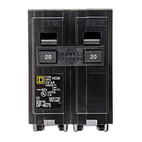 Square D HOM220 HomeLine Circuit Breaker, HOM-Type, 2-Pole, 120/240VAC, 20-Amp