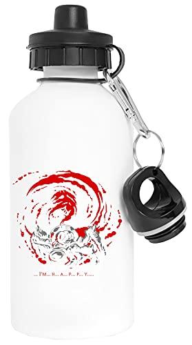Im H A P P Y Giygas Tee Aluminio Blanco Botella de Agua Con Tapón de Rosca Aluminium White Water Bottle With Screw Cap
