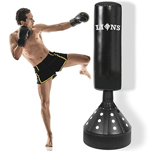 Lions 5.5ft Free Standing Punch Bag Boxing Stand Martial Arts Fitness Kick Punching Training BoB Man Torso Dummy + Free Boxing Gloves