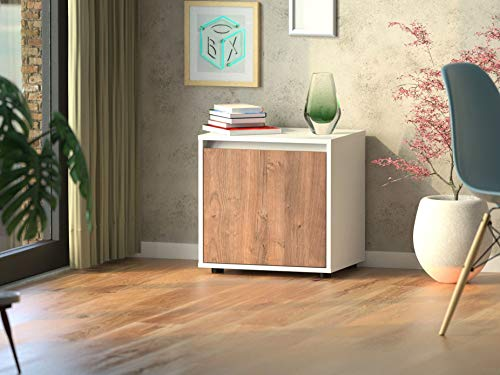 Berlin Box Interior Sideboard U1 / Kommode Weiss/Made in Germany / 50x50cm / grifflose Eleganz/Wild Oak Brown