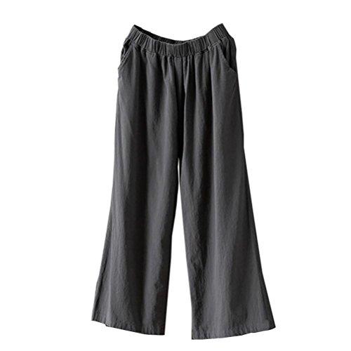 Vectry Damen Jogger Pants Jogginghose Slim Skinny Jeans Loose Designer Chino Boyfriend Jerseyhose Yoga Relaxed Jazz Pluderhosen Weite Beinhosen, Palazzo Hohe Culottes Baumwollleinen (2XL, Grau)