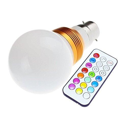 Ossun® BC B22 GLS RGB télécommande 12 Changement de couleur ampoule LED Fonction mémoire faible économie d'énergie 5 W avec mémoire et fonction Variateur de lumière 230 V Culot à baïonnette