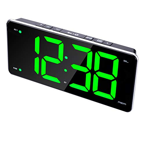 Reloj electrónico Reloj Despertador con Radio LED Reloj Despertador con Ajuste de luz y Oscuridad de Timbre Doble Día de la Semana Timbre de Fin de Semana Conexión USB Caja Negra Pantalla Digital ro