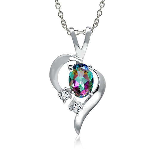 Silvershake Mystic Fire Topaz 925 Sterling Silver Modern Heart Pendant with 18 Inch Chain Necklace