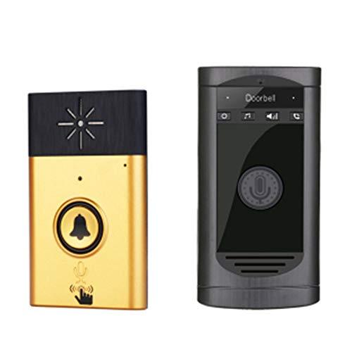JIANFEI draadloze deurbel ondersteuning intercom 200m signaaloverdracht laag stroomverbruik, 2 kleuren 3 soorten 2 trekken 3 (kleur: goud, grootte: A-60x14.8x100mm)