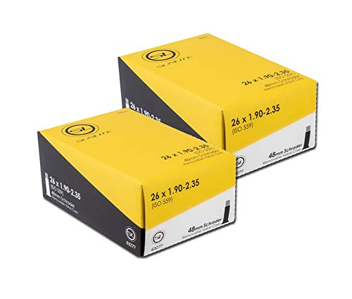 """Street Fit 360 2 Pack Money Saver - 26"""" x 1.95-2.35 48mm Schrader Valve, Sunlite. Mountain Bike, Cruiser, MTB, MTN Bicycles Replacement Tube"""