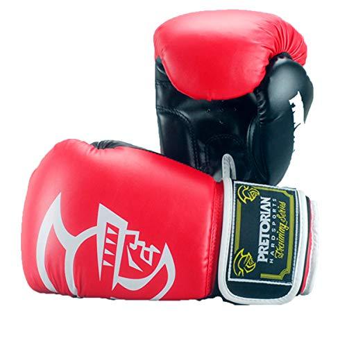 HAOXUAN Guantoni da Boxe Muay Thai PU Guantoni da Boxe in Pelle Donna Uomo MMA Gym Training Grant Guantoni da Boxe,Rosso,10 oz