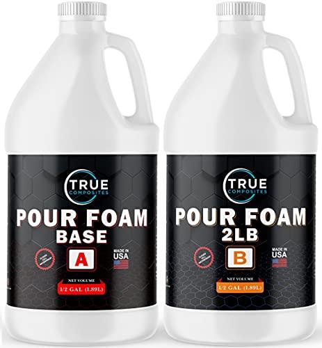 TRUE COMPOSITES Liquid Urethane Pour Foam Base-2 Part Closed Cell Rigid Pour Foam-2 lb Density-Fast-Acting Formula-Boat Buoyancy, Flotation, Filling, Soundproofing & Insulation-1 Gallon Kit