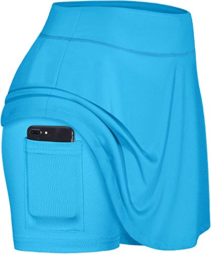 Blevonh Skirts for Women,Drawstring Waist Pleated Sports Skorts with Mesh Shorts Ladies Airy Baggy Tennis Skirt for Girls Performance Skort with Pocket Great with Womens Golf Apparel Blue XL