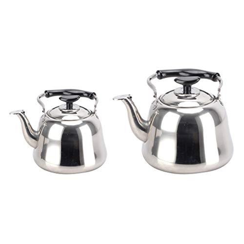Gazechimp 2x Stainless Steel Whistling Kettle + Infuser Stovetop Teakettle Pot 1L + 3L